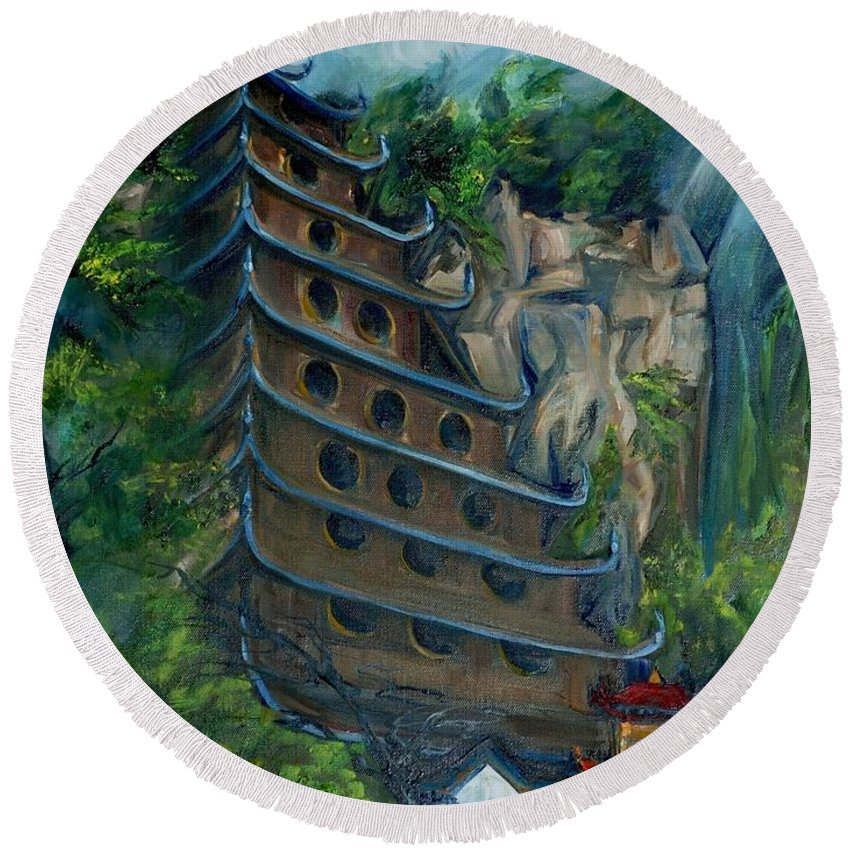 China Round Beach Towel featuring the painting Chinese Hanging Temple by Jennifer Christenson