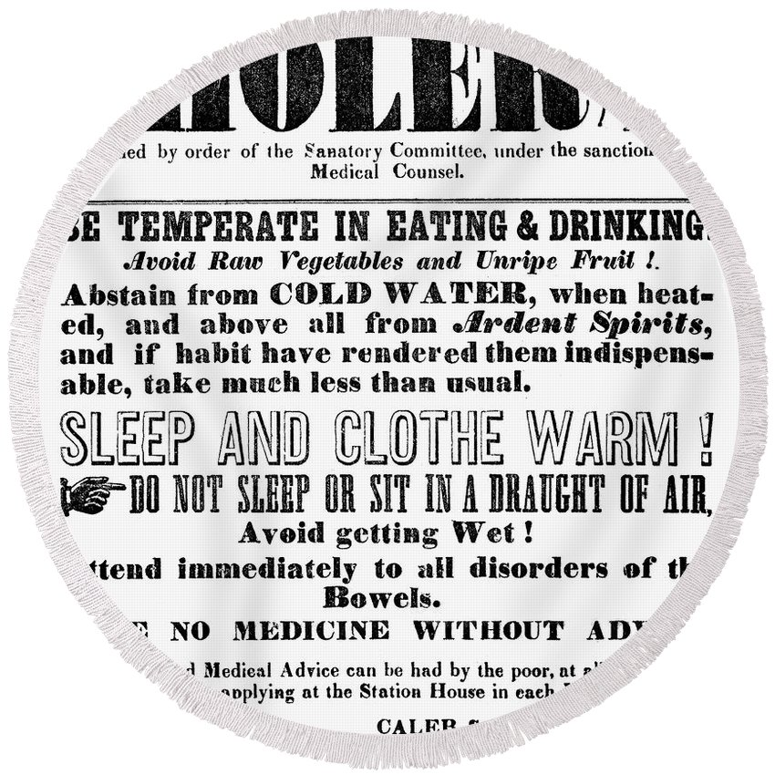 1849 Round Beach Towel featuring the photograph Cholera Broadside 1849 by Granger