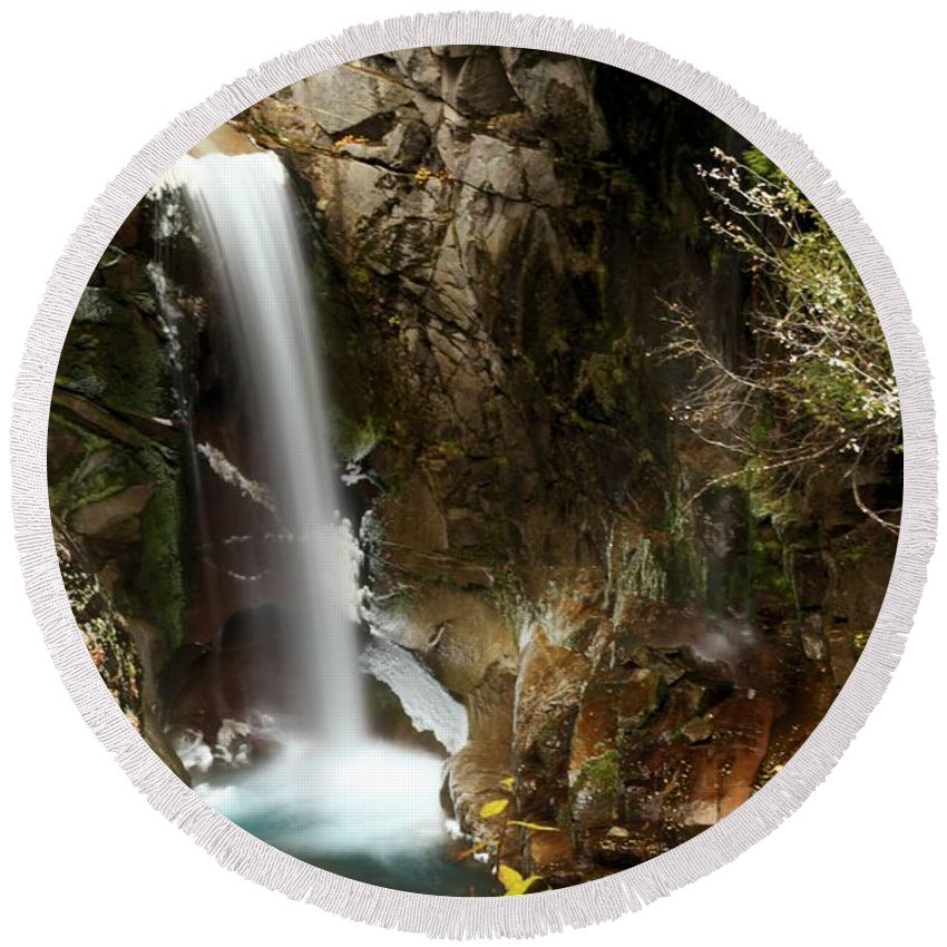 Christine Falls Round Beach Towel featuring the photograph Christine Falls Canyon by Adam Jewell