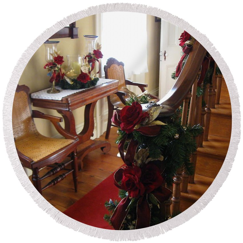 Red Rose Round Beach Towel featuring the photograph Christmas Rose And Stairs by Nancy Patterson