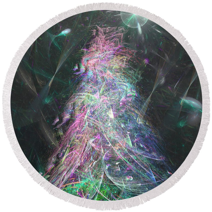 Abstract Round Beach Towel featuring the digital art Christmas Tree Moon by Russell Kightley