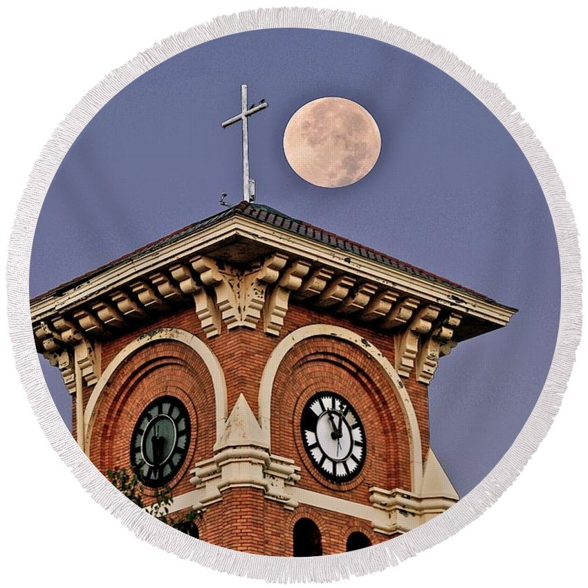 First Methodist Church Round Beach Towel featuring the photograph Church Bell Tower by Michael Peychich