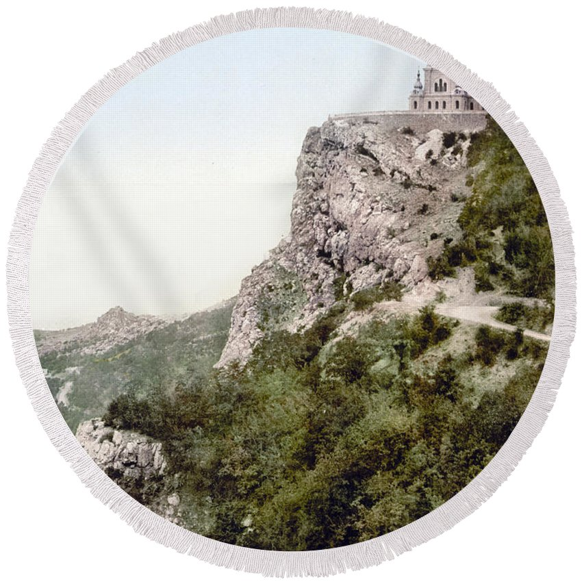 Crimea Round Beach Towel featuring the photograph Church In Crimea - Ukraine - Russia by Bode Stevenson