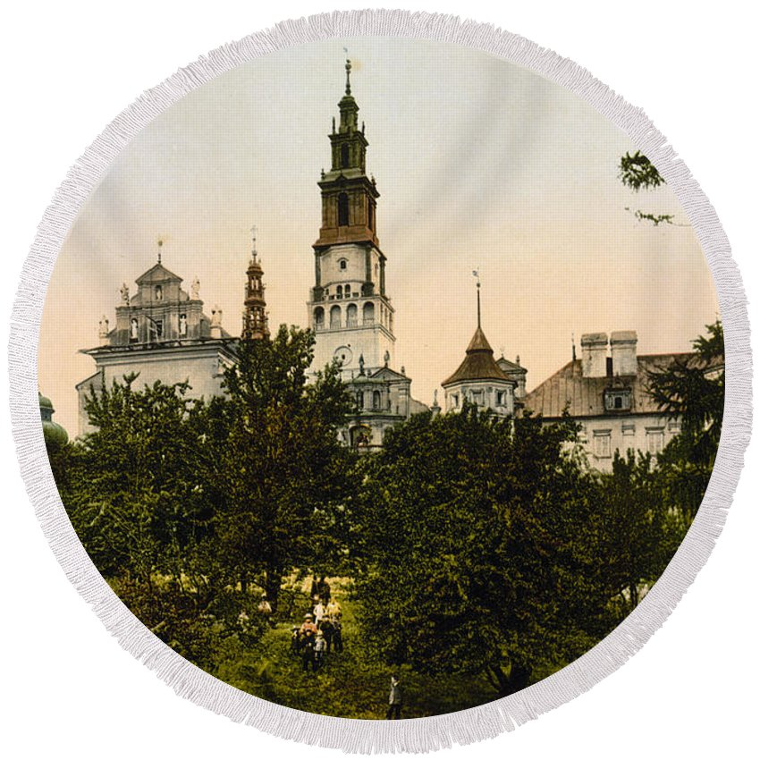 Czestochowa Round Beach Towel featuring the photograph Church In Czestochowa - Poland - Ca 1900 by International Images