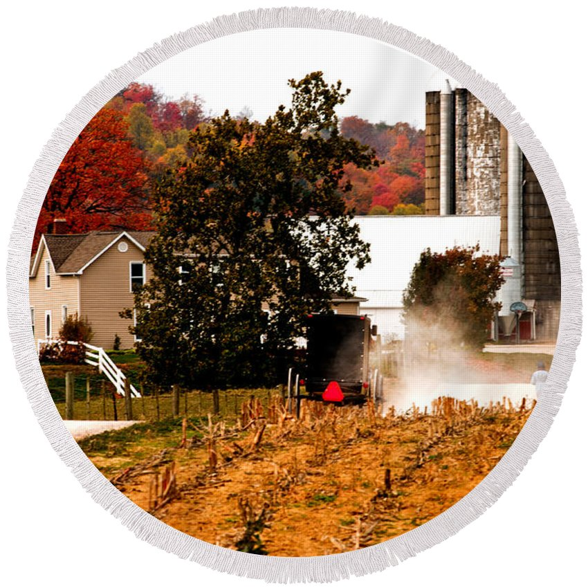 Amish Farm Round Beach Towel featuring the photograph Church Is Over Heading Home by Randall Branham