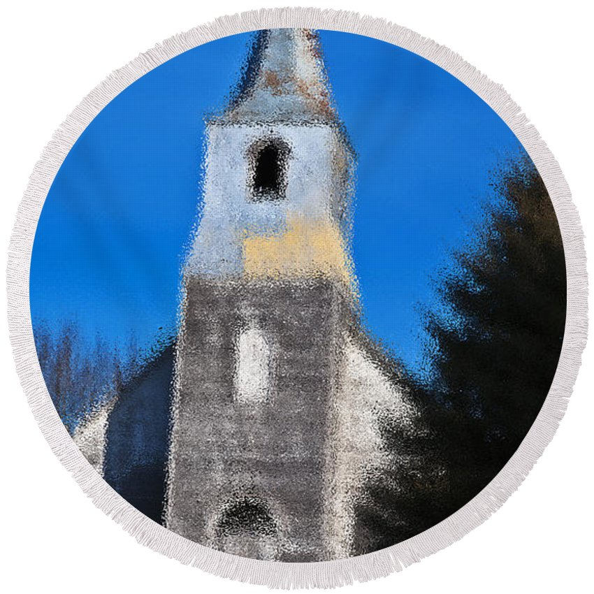 Church Round Beach Towel featuring the photograph Church Of Days Gone By by Edward Peterson