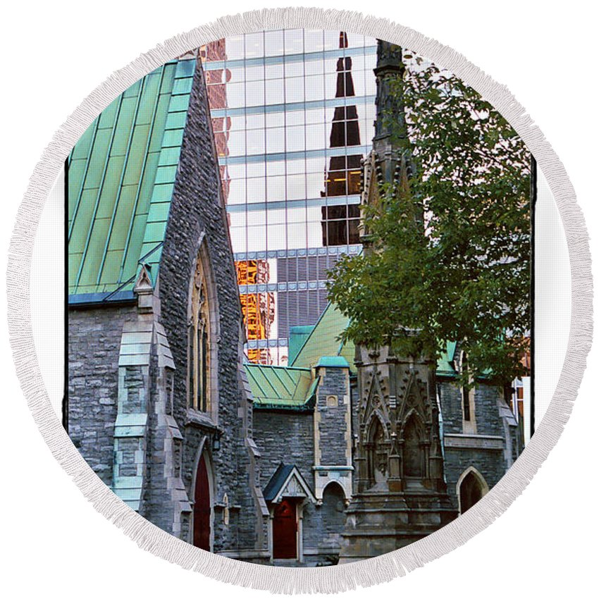 Church Round Beach Towel featuring the photograph Church Reflections by Diana Haronis
