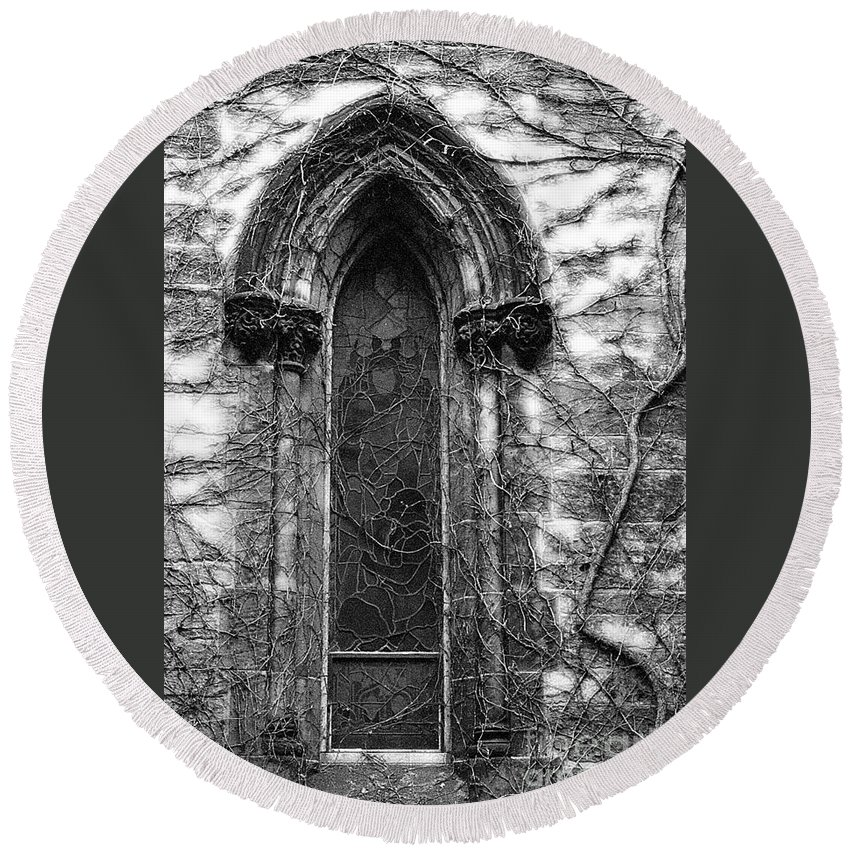 Church Round Beach Towel featuring the photograph Church Window And Vines Bw by Mike Nellums
