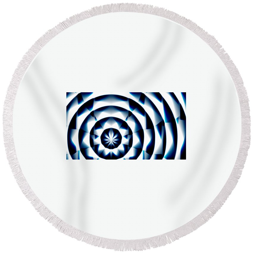 Round Beach Towel featuring the painting Circle Flower - Macro 1 by Christopher Gaston