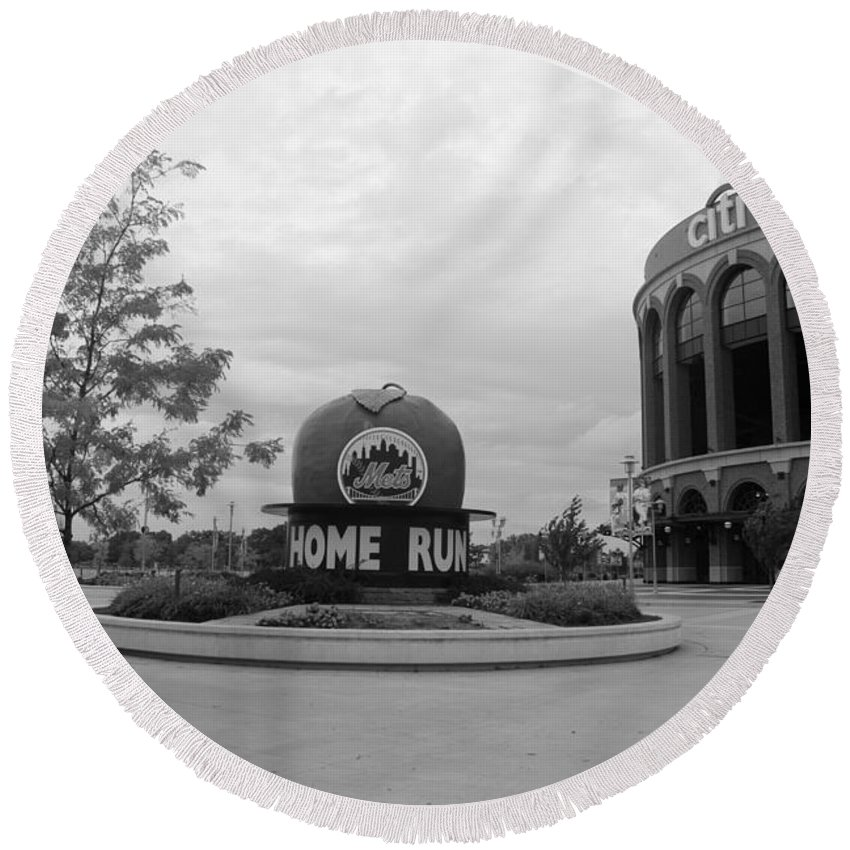 Shea Stadium Round Beach Towel featuring the photograph Citi Field In Black And White by Rob Hans