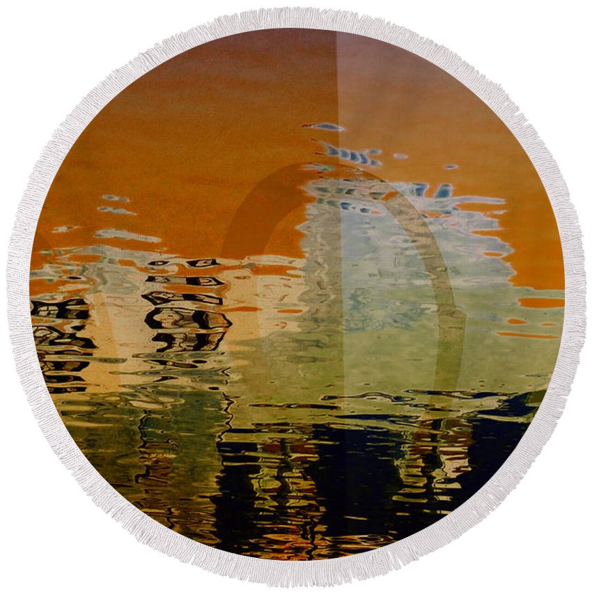 City Round Beach Towel featuring the digital art City Abstract by Elaine Manley