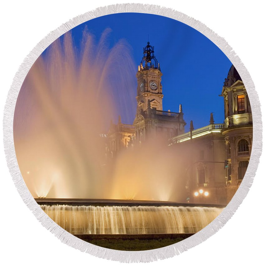 Water Round Beach Towel featuring the photograph City Hall And Fountain At Dusk by Axiom Photographic