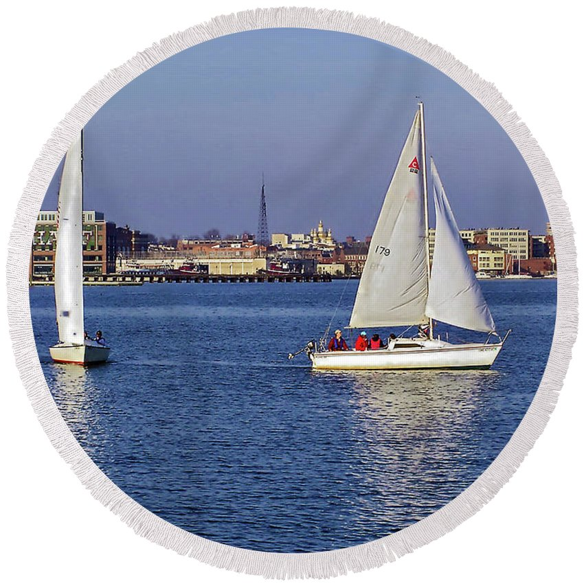 2d Round Beach Towel featuring the photograph City Harbor Sailing by Brian Wallace