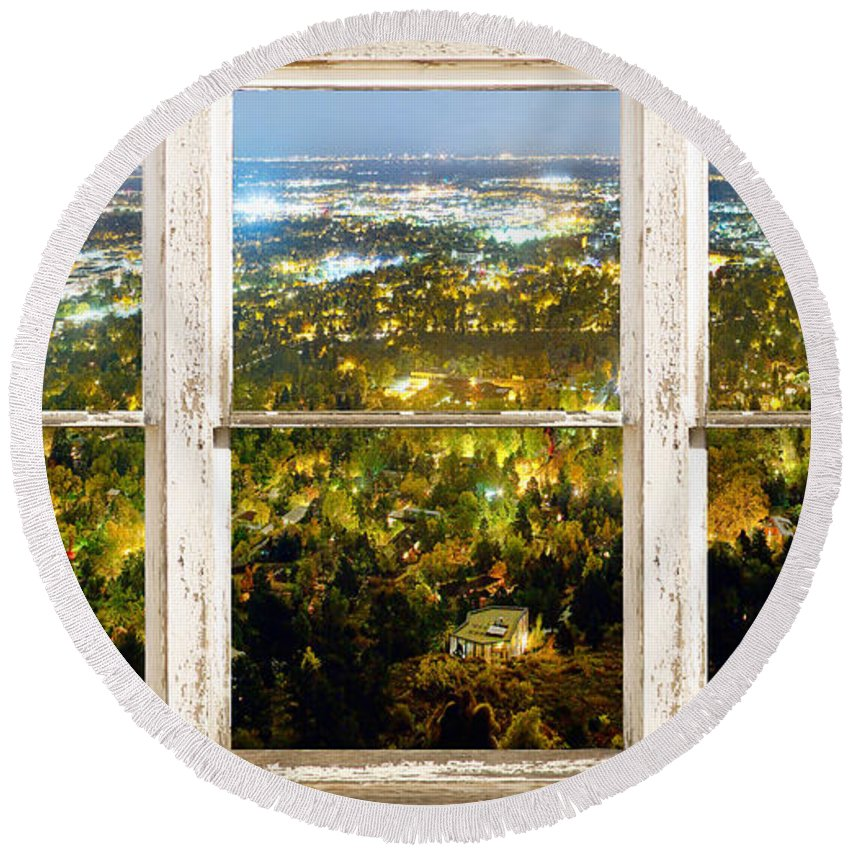 'window Frame Art' Round Beach Towel featuring the photograph City Lights White Rustic Picture Window Frame Photo Art View by James BO Insogna