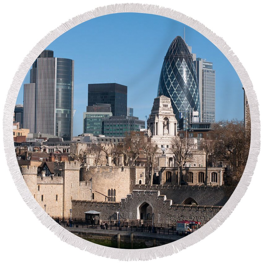 British Round Beach Towel featuring the photograph City Of London by Andrew Michael