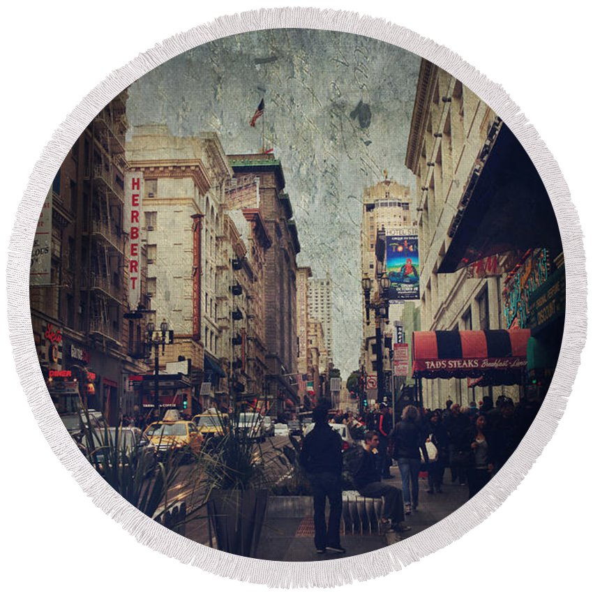 San Francisco Round Beach Towel featuring the photograph City Sidewalks by Laurie Search