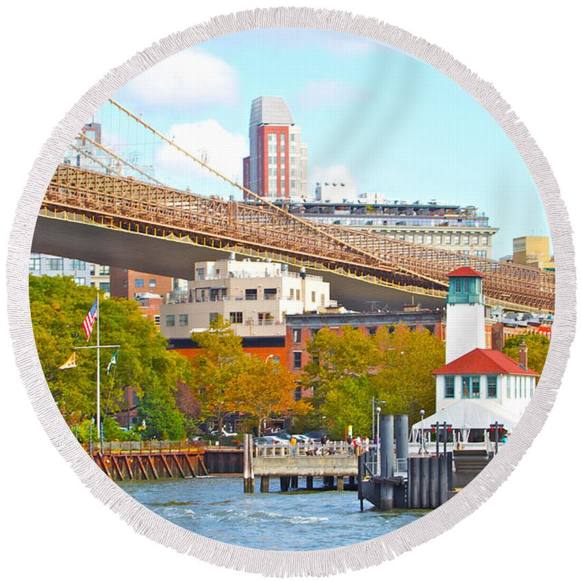 New York City Water View Bridge Round Beach Towel featuring the photograph City View Three by Alice Gipson