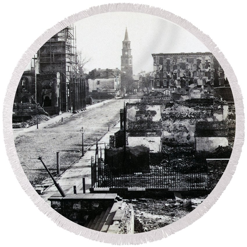 charleston South Carolina Round Beach Towel featuring the photograph Civil War Damaged Charleston South Carolina - Meeting Street - C 1865 by International Images