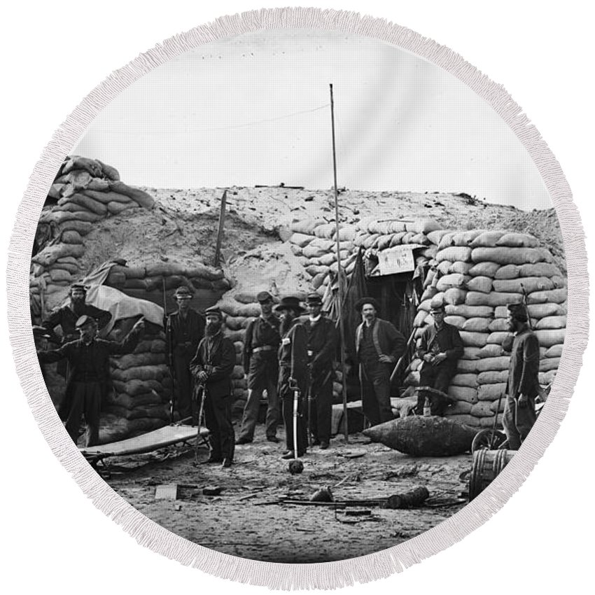 1863 Round Beach Towel featuring the photograph Civil War: Headquarters by Granger
