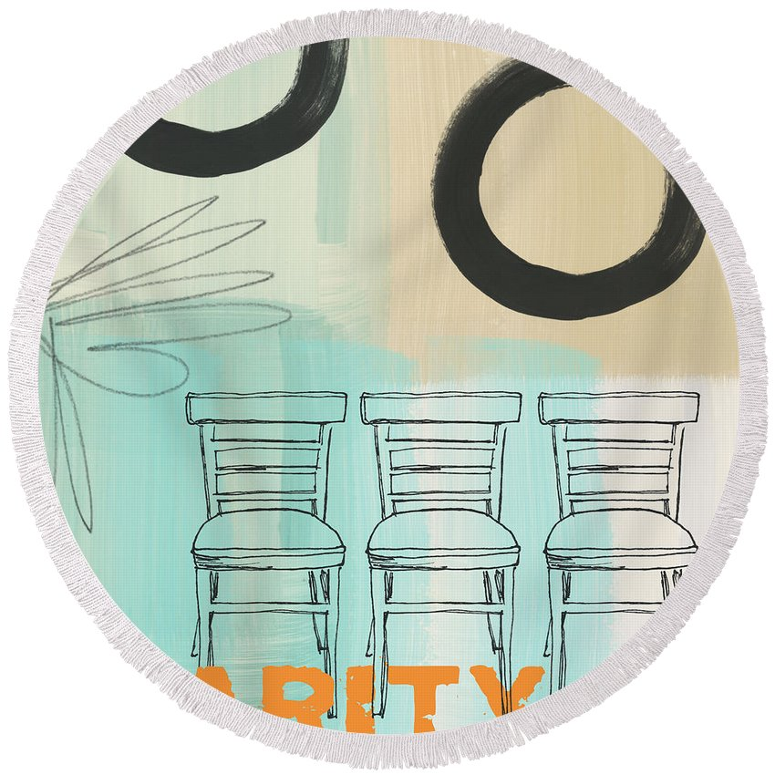 Abstract Round Beach Towel featuring the painting Clarity by Linda Woods