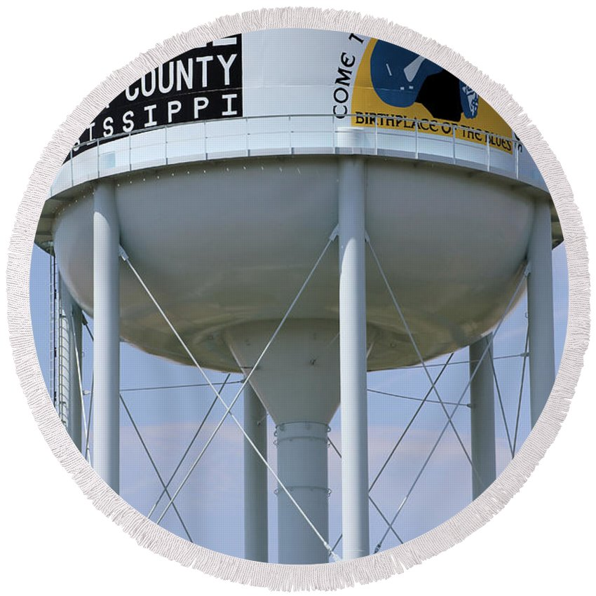Crossroads Round Beach Towel featuring the photograph Clarksdale Water Tower by Karen Wagner