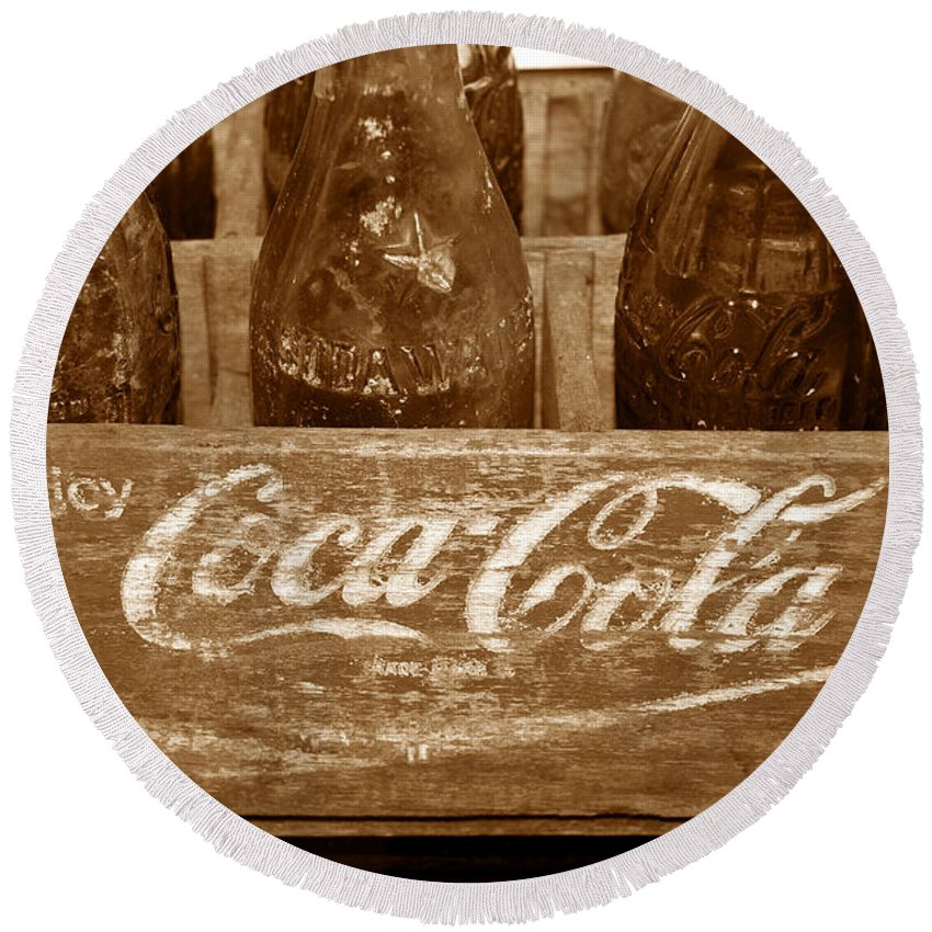 Fine Art Photography Round Beach Towel featuring the photograph Classic Coke Work B by David Lee Thompson