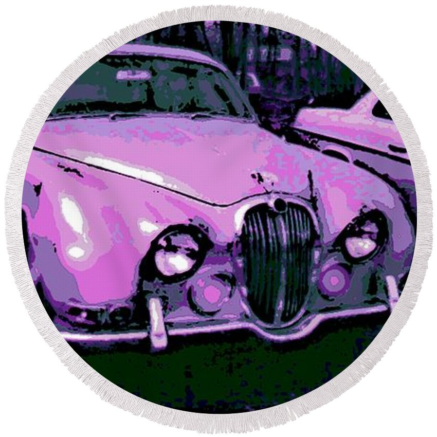 Jaguar Round Beach Towel featuring the photograph Classic In Pink by George Pedro