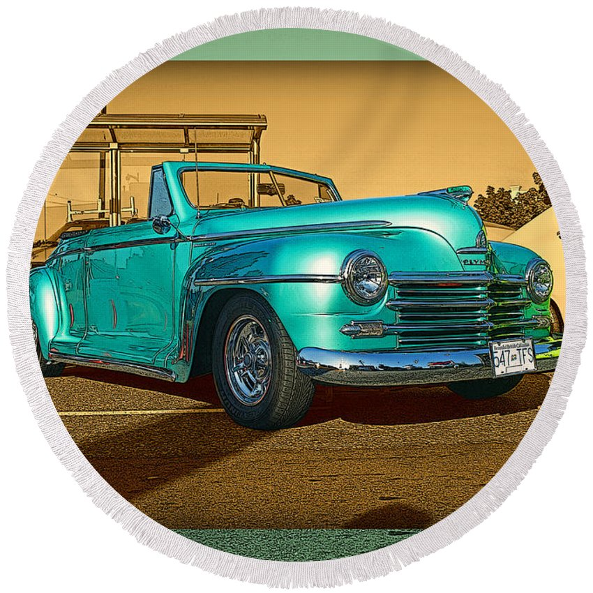 Old Cars Round Beach Towel featuring the photograph Classic Teal Convertible by Randy Harris
