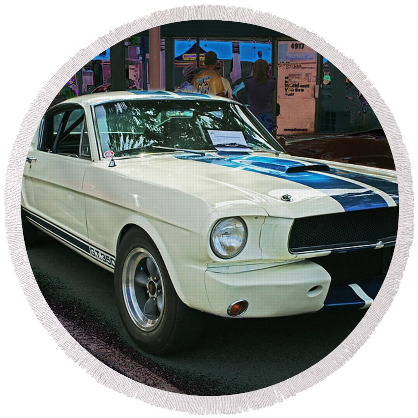 Old Cars Round Beach Towel featuring the photograph Classy Mustang by Randy Harris