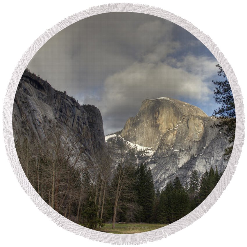 Clearing At Half Dome Round Beach Towel featuring the photograph Clearing At Half Dome by Wes and Dotty Weber