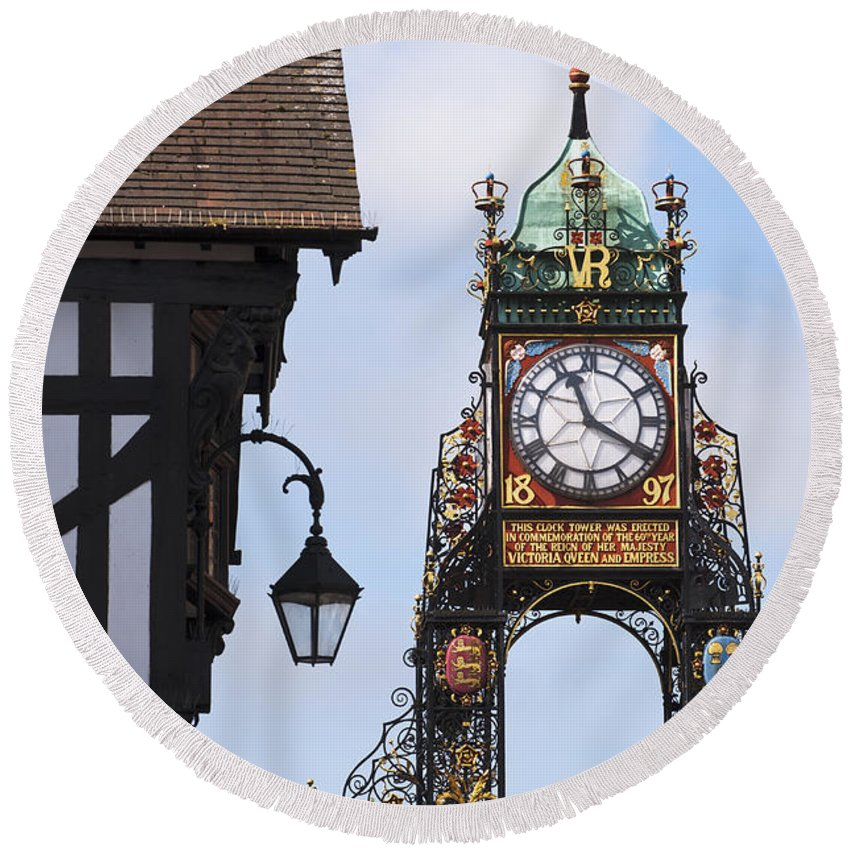 2011 Round Beach Towel featuring the photograph Clock In Chester by Andrew Michael