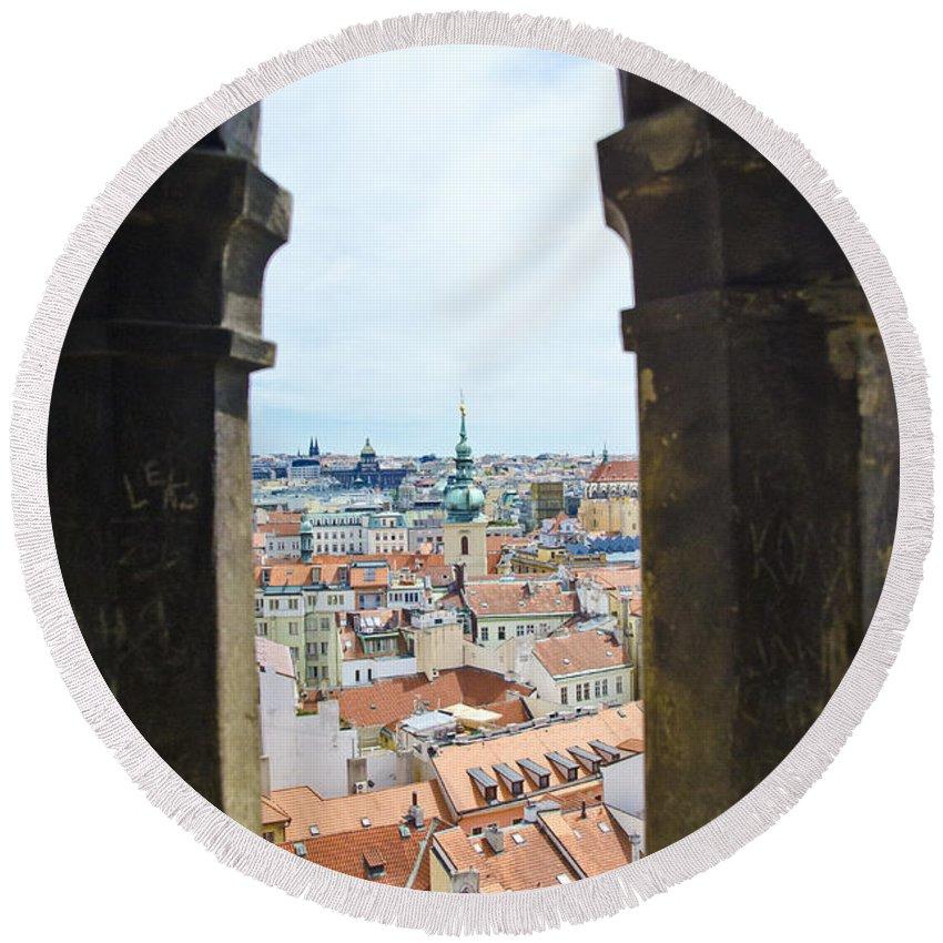 Prague Round Beach Towel featuring the photograph Clock Tower View - Prague by Jon Berghoff