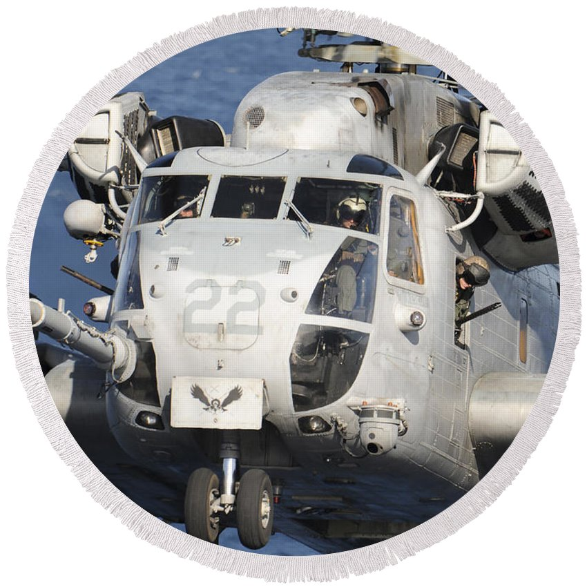 Military Round Beach Towel featuring the photograph Close-up Of A Ch-53 Sea Stallion by Stocktrek Images
