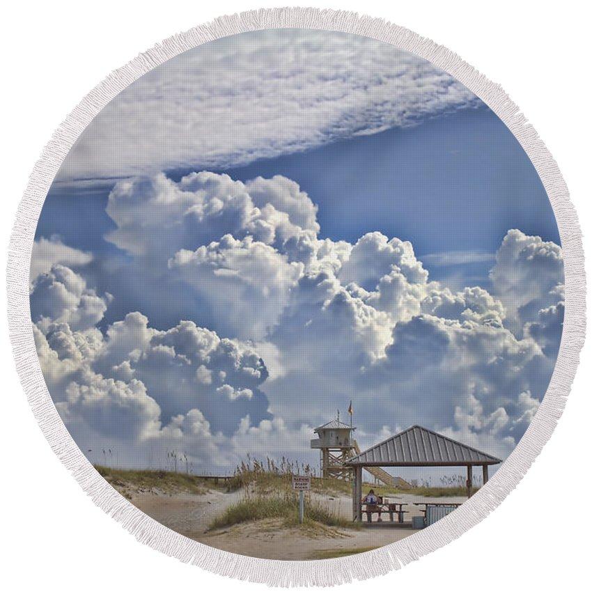 Beach Round Beach Towel featuring the photograph Cloud Merge by Deborah Benoit