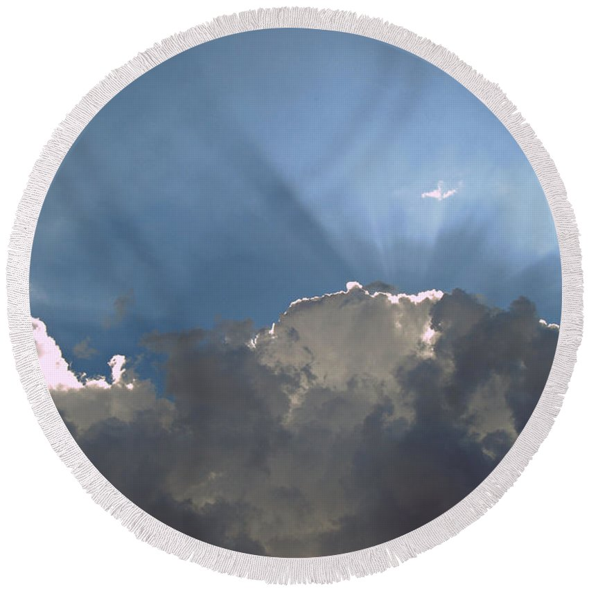 Clouds Round Beach Towel featuring the photograph Clouds-12 by Paulette B Wright