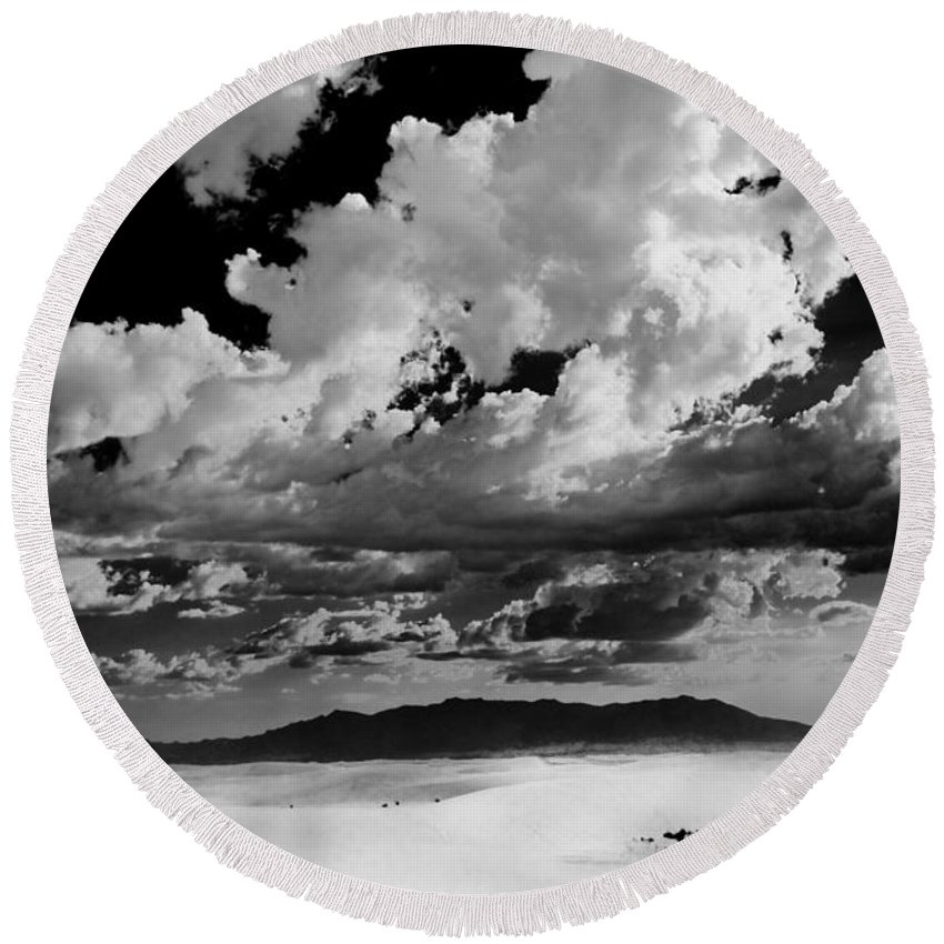 White Sands National Monument Round Beach Towel featuring the photograph Clouds Above White Sands by Ralf Kaiser