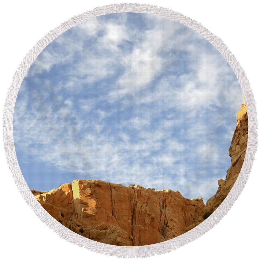 Beauty Of Sandstone Round Beach Towel featuring the photograph Desert Landscape by Bob Christopher
