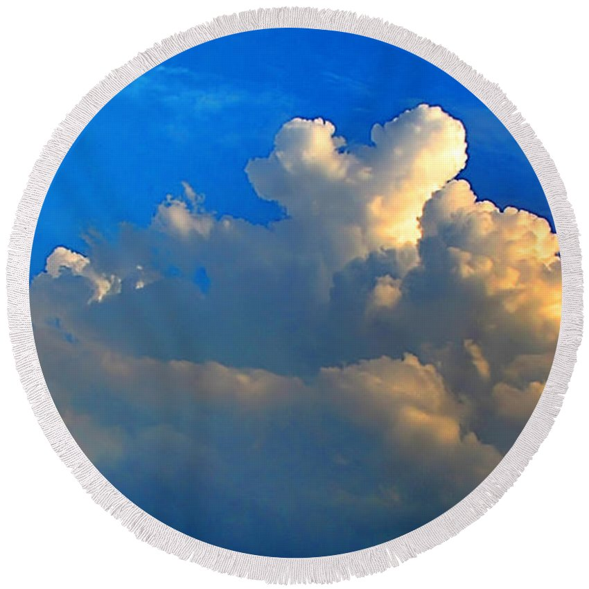 Morning Round Beach Towel featuring the photograph A Heart On Top Of The Clouds by Debbie Portwood
