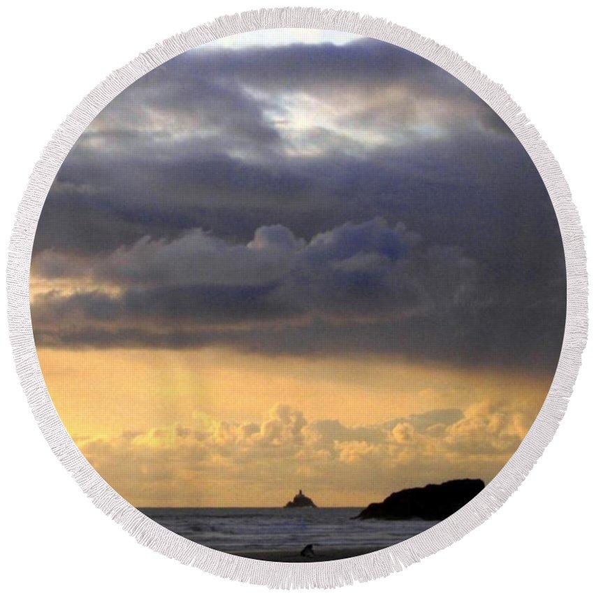 Tillamook Lighthouse Round Beach Towel featuring the photograph Clouds Over Tillamook Lighthouse by Will Borden