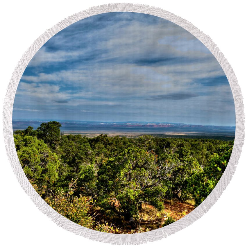 Arizona Round Beach Towel featuring the photograph Clouds by Rod Wiens