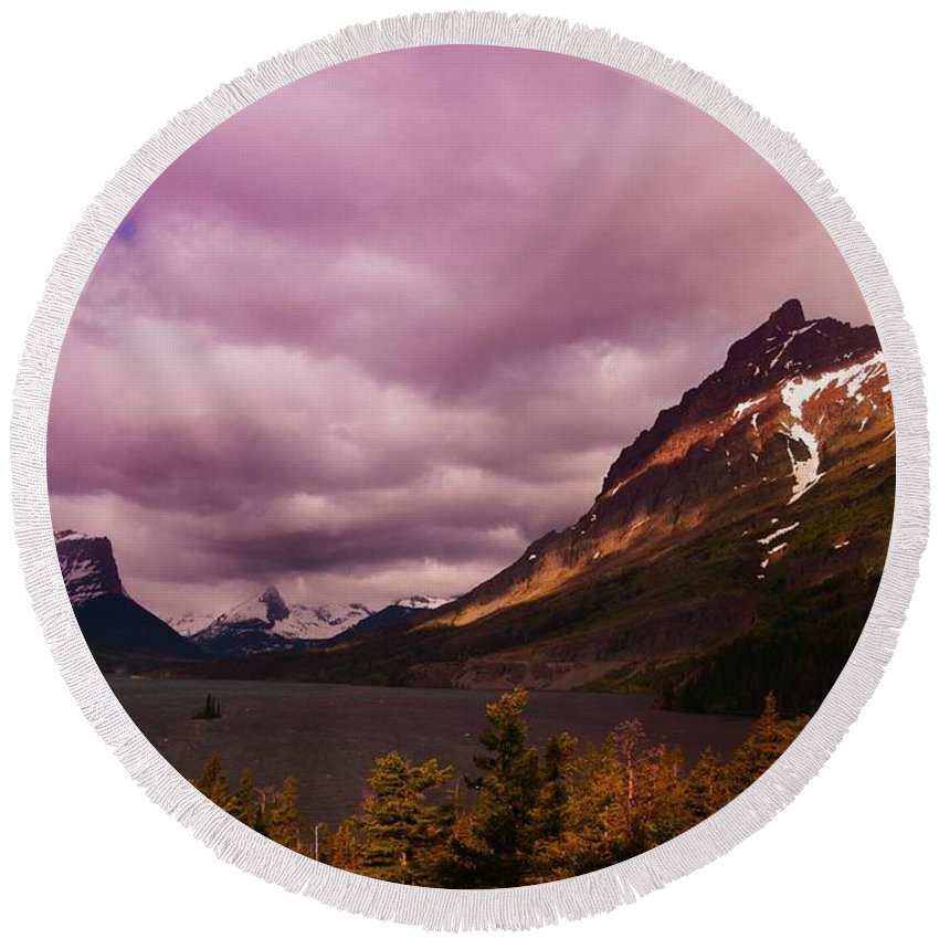 Mountains Round Beach Towel featuring the photograph Cloudy Morning At Glacier by Jeff Swan