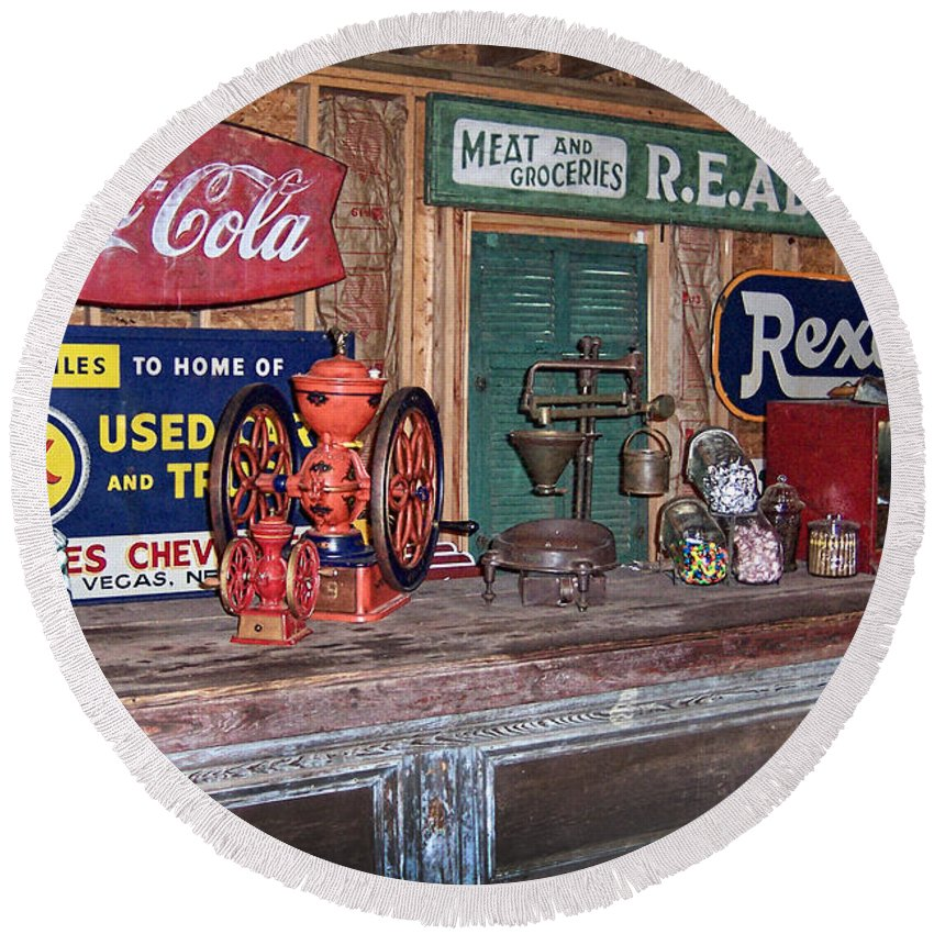 Coca Cola Round Beach Towel featuring the photograph Coca Cola - Rexall - Ok Used Tires Signs And Other Antiques by Kathy Clark
