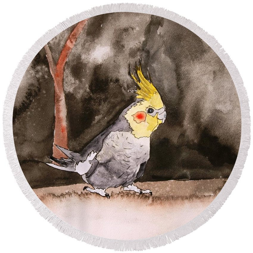 Cockatiel Round Beach Towel featuring the painting Cockatiel by Derek Mccrea