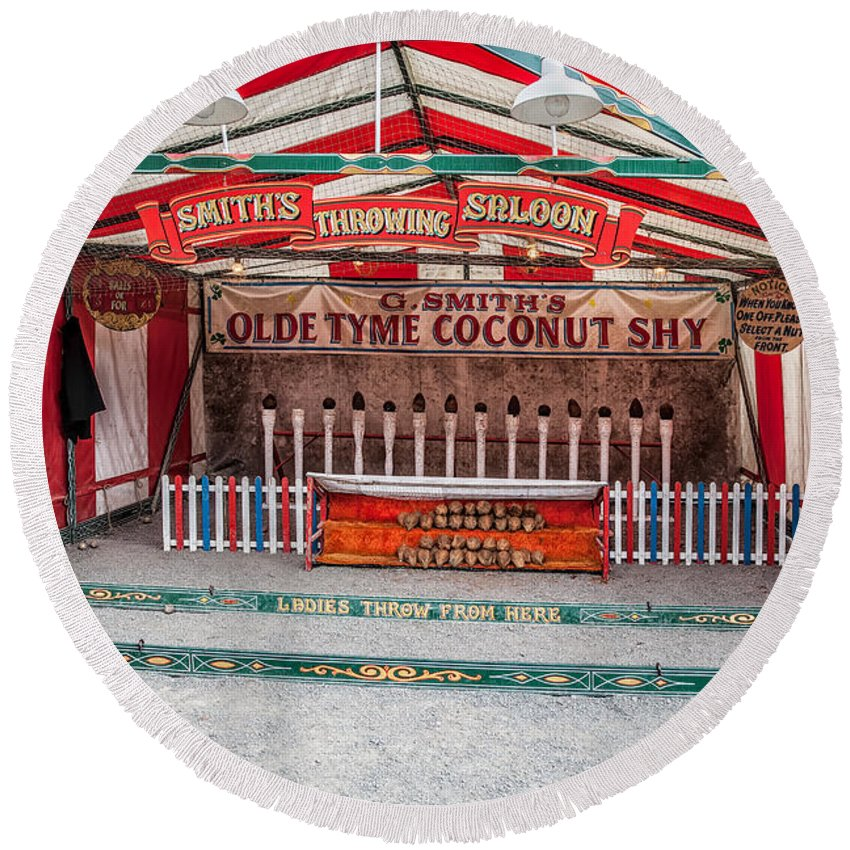 British Round Beach Towel featuring the photograph Coconut Shy by Adrian Evans