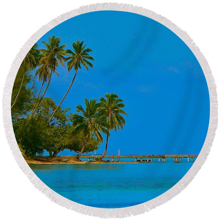 French Polynesia Round Beach Towel featuring the photograph Coconuts Anyone by Eric Tressler