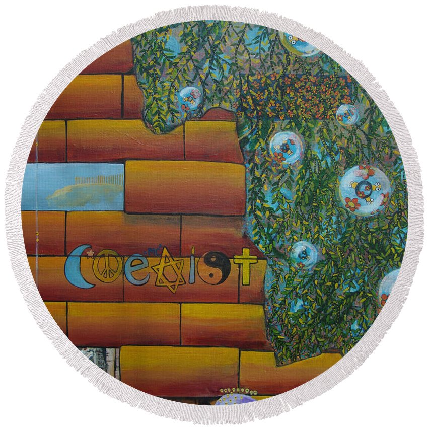Coexist Round Beach Towel featuring the painting Coexist by Mindy Huntress