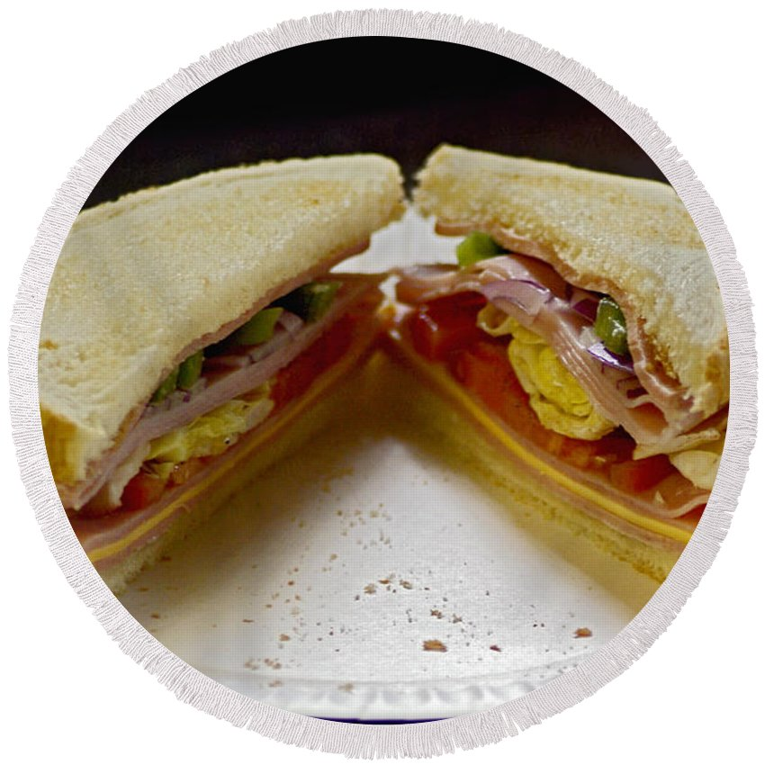 2d Round Beach Towel featuring the photograph Cold Cut Sandwich by Brian Wallace