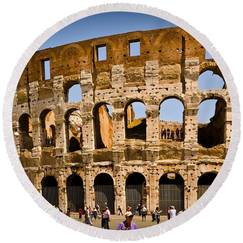 Rome Round Beach Towel featuring the photograph Coliseum Facade by Jon Berghoff