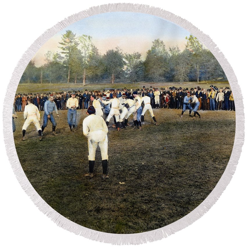 1889 Round Beach Towel featuring the photograph College Footbal Game, 1889 by Granger