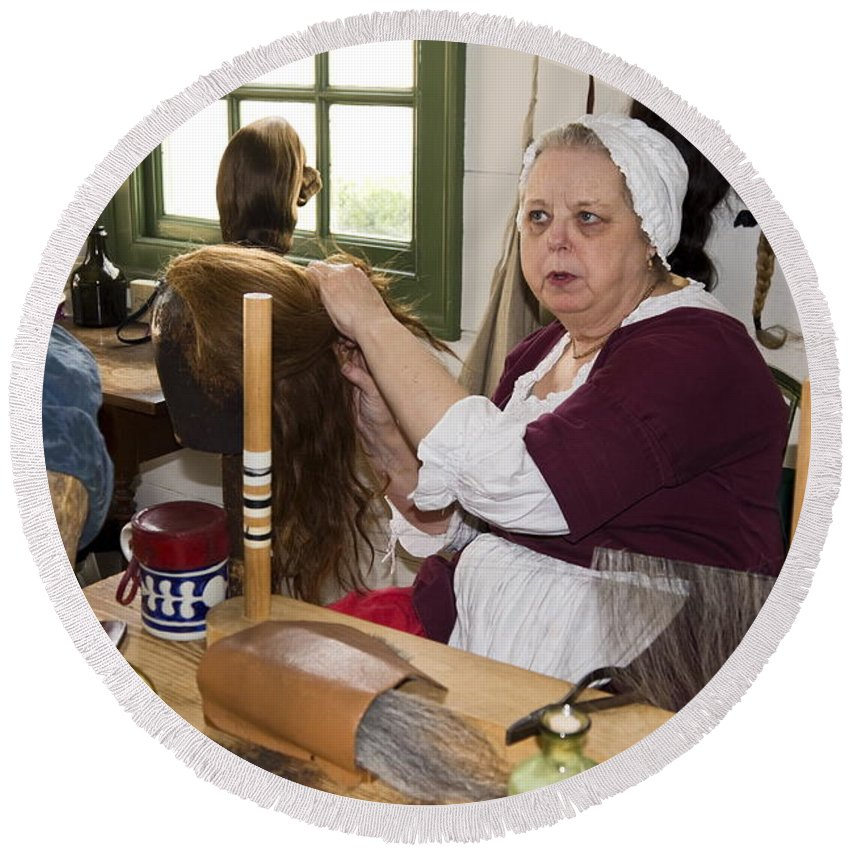 Wigmaker Working Round Beach Towel featuring the photograph Colonial Wigmaker by Sally Weigand